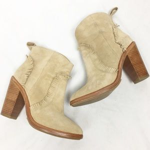 JOIE Tan Suede Fringe Leather Ankle Booties 5